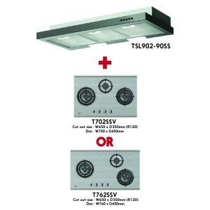 ( Package B ) Turbo Build-in Glass Hob (T773SSV or T883SSV) + Hood (TSL902-90SS)