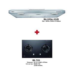 Rinnai Build-in Glass Hob ( RB-72G ) + Hood ( RH-S95A-SSVR ) Package