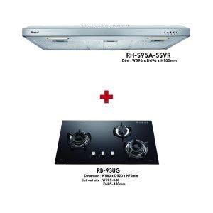 Rinnai Build-in Glass Hob ( RB-93UG ) + Hood ( RH-S95A-SSVR ) Package