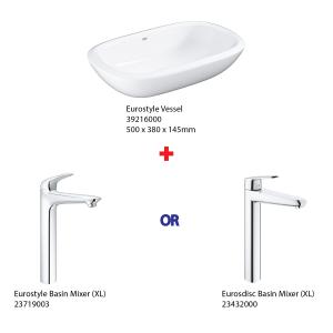 ( Grohe Basin Bundle ) 39216000 Eurostyle Vessel Basin + 23719003 Eurostyle Basin Mixer or 23432000 Eurosdisc Basin Mixer
