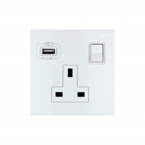 Legrand Galion 16A Single Socket with USB Type A